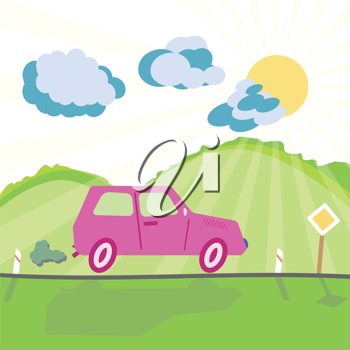 Royalty Free Clipart Image of a Car on the Road