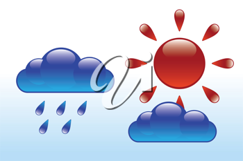 Royalty Free Clipart Image of an Abstract Glossy Sun and Clouds with Drops