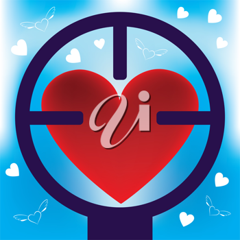 Royalty Free Clipart Image of a Heart in Rifle Sight