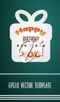 Vector illustration of happy birthday present box on dark background as template with place for your text.
