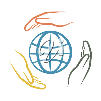 hands around earth as ecology concept vector illustration