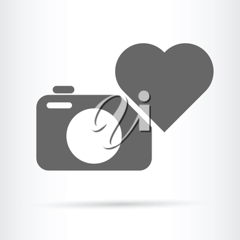 camera and heart icon beloved hobby concept vector illustration