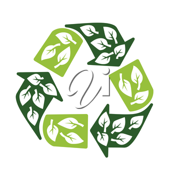 recycling sign with leaves symbol eco protection concept vector illustration
