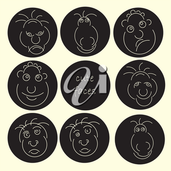 Cute faces abstract avatar set. Funny humor character collection. Vector illustration. Smiling and angry expressions.