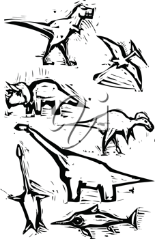 Royalty Free Clipart Image of Dinosaurs