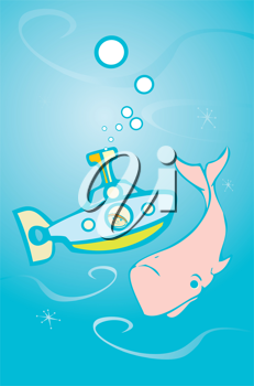 Royalty Free Clipart Image of a Submarine and Whale