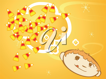 Royalty Free Clipart Image of a Kid With Candy