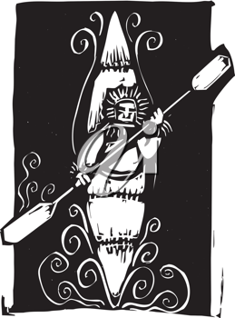 Royalty Free Clipart Image of an Inuit in a Kayak