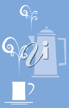 Royalty Free Clipart Image of a Pot of Coffee and Cups
