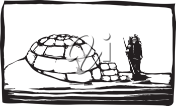 Royalty Free Clipart Image of a Man Beside an Igloo