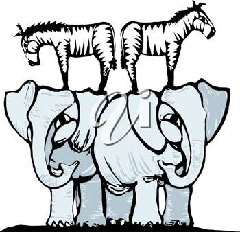 Royalty Free Clipart Image of Zebras Standing on Elephants