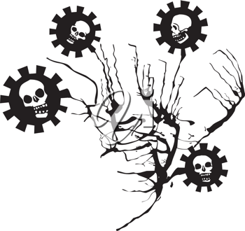 Royalty Free Clipart Image of Flowers With Skulls on Them