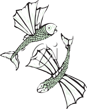 Royalty Free Clipart Image of Two Flying Fish