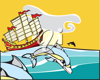 Royalty Free Clipart Image of Dolphins Swimming by a Ship