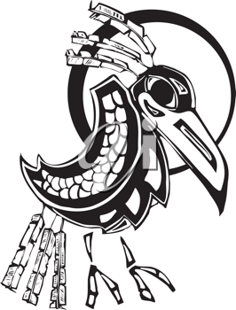 Royalty Free Clipart Image of a Mythical Raven