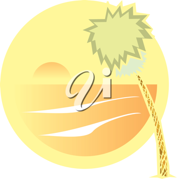 Royalty Free Clipart Image of a Beach View