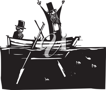 Royalty Free Clipart Image of Two People in a Rowboat
