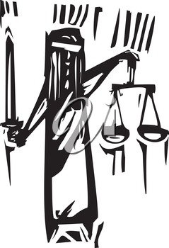 Woodcut expressionist style of the metaphor for blind justice.
