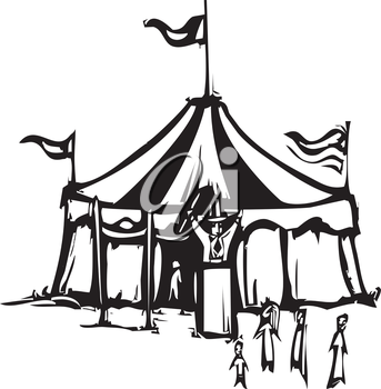 Woodcut expressionist style image of a carnival circus tent.