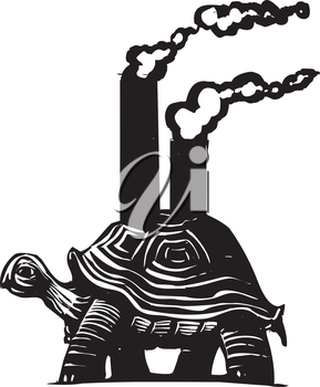 Royalty Free Clipart Image of a Turtle With Smokestacks on its Back