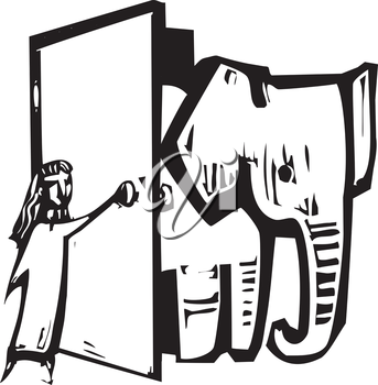 Royalty Free Clipart Image of a Girl Opening a Door to an Elephant