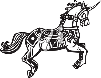 Woodcut style image of a unicorn in a bridal and fancy livery.