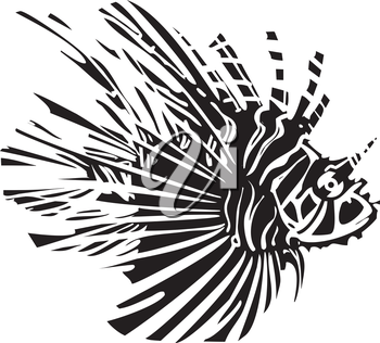Woodcut style image of a tropical lionfish