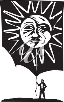 Woodcut style image of a sun and moon face being held by a man holding a piece of string.