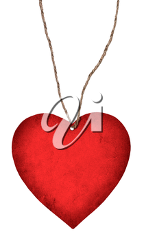 red paper heart hanging on a rope isolated on white background