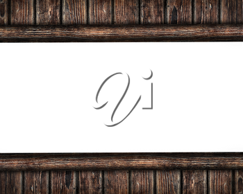 Old wooden panel as a frame isolated on white background