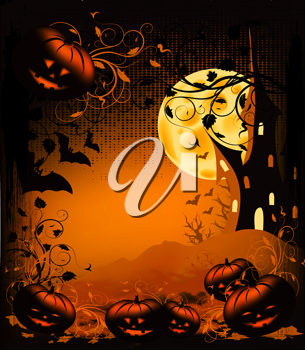Royalty Free Clipart Image of a Halloween Scene