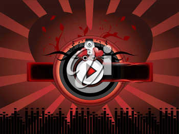 Red music background with buttons and ornament