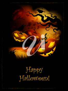Halloween Funny Pumpkin At Night In The Forest. AI10EPS file contains transparency effects and gradient mesh.