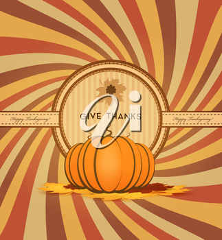 Thanksgiving Day Background With Pumpinks, Maple Leafs And Title Inscription