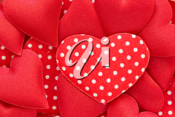 Red hearts stickers background. Valentine decorations.