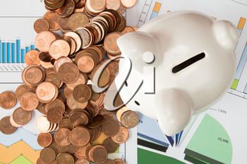Investment concept or money savings, piggy-bank with Euro cents on paperwork
