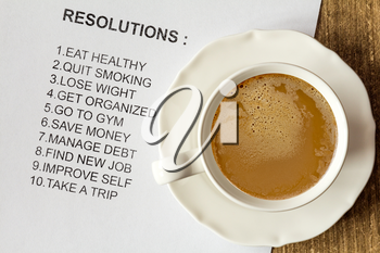 Cup of cappuccino with list of new resolutions for better life