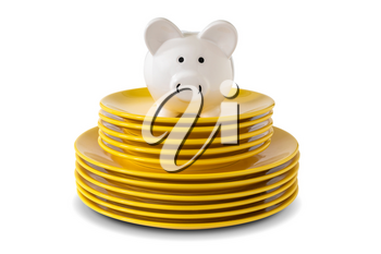 Savings consumer concept. Piggy bank on the stack of dinner plates