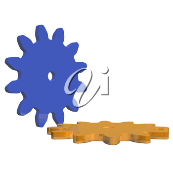 Couple of gear wheels, as concept of movement and team work