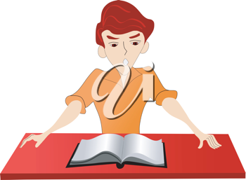 Royalty Free Clipart Image of a Boy Reading a Book