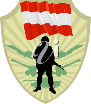 Royalty Free Clipart Image of a Crest of an Austrian Soldier and Flag