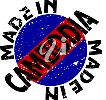 Royalty Free Clipart Image of a Label with Made in Cambodia