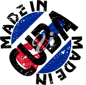 Royalty Free Clipart Image of a Label of Made in Cuba