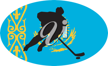 hockey player on background of flag of Kazakhstan