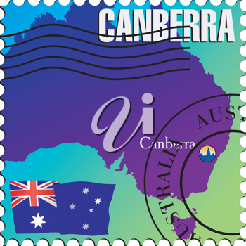 Vector stamp with an image of map of Australia