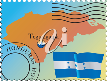 Vector stamp with an image of map of Honduras