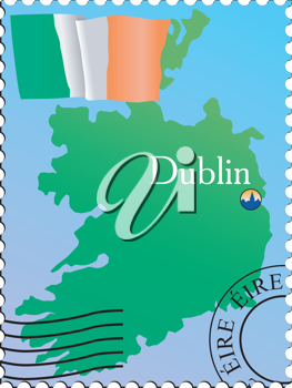 Vector stamp with an image of map of Ireland