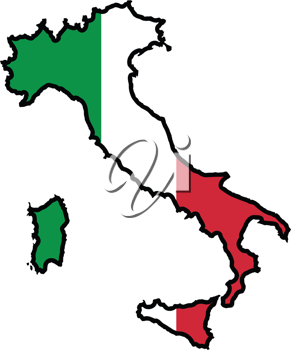 An illustration of map with flag of Italy