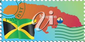 Vector stamp with an image of map of Jamaica