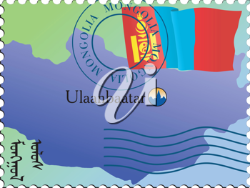 Vector stamp with an image of map of Mongolia